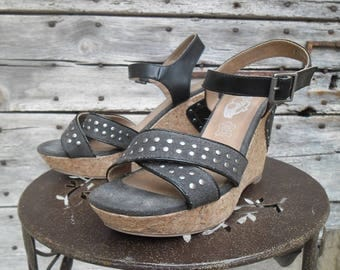The time of cherries size 39 denim platform sandals
