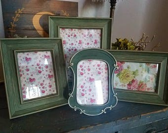 ON SALE New Green Distressed Rustic Picture Frame Set-wall gallery-collection of 4 Gallery Frame Set--shabby chic-home French Country Decor