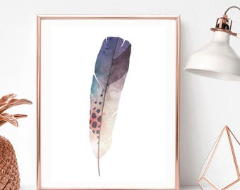 Feather Watercolour Print/Home Print