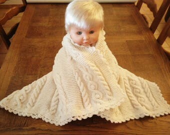 baby blanket hand knitted Ecru wool cable
