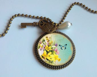 Long necklace - pendant - 'yellow flowers and Butterfly'