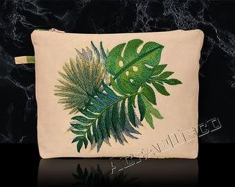 """Kit toiletry bag travel or makeup - woman - embroidered leaves and exotic """"Mr. CANOVAS"""" Turquoise/green foliage print."""