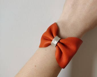 Orange leather cuff