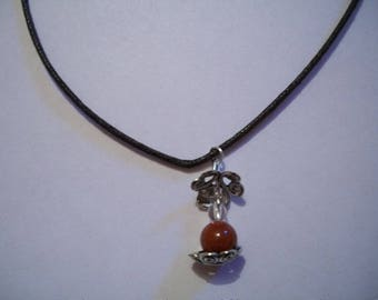 Brown cord and Red Jasper pendant