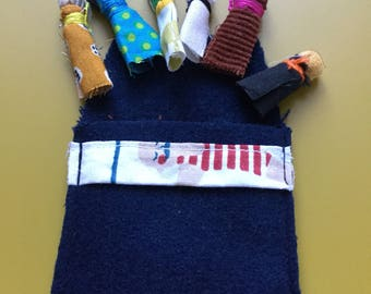 Dolls hassle pouch Navy blue wool