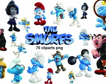 70x The Smurfs movie  printable Digital Clipart Graphic Instant Download - Scrapbooking , Instant Download