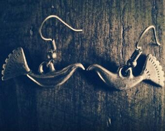 Balts Waterbird Ancient Tribal Handmade Brass Earrings
