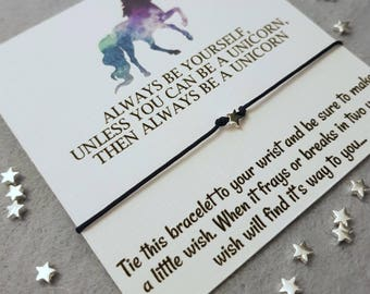 Unicorn Wish Bracelet, Friendship Bracelet, Sterling Silver Unicorn Bracelet, Unicorn Gift