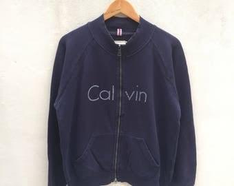 Vintage Calvin Klein Jeans Jacket Zip Sweater 1990s Big Spell Logo Size XL