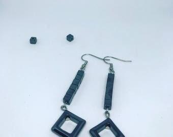 Earrings with metal beads