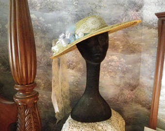 Wide Brim Decorative Natural Straw Hat, Southern Femininity