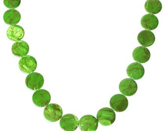 1 round flat shell bead Green 20mm