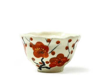 Hand Paint Red Ume - Tea cup, blooming plum flower, spring, celebration
