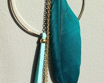 Gold and green Necklace: Feather and suede