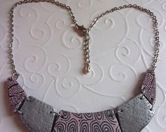 silver grey and powder pink fancy bib necklace polymer clay
