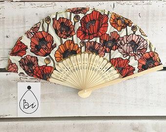 "Cotton canvas fan ""Poppies"""