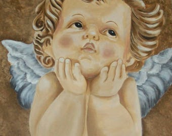 TABLE SHABBY CHIC WITH A CHARMING LITTLE ANGEL CHUBBY CHIN IN HANDS