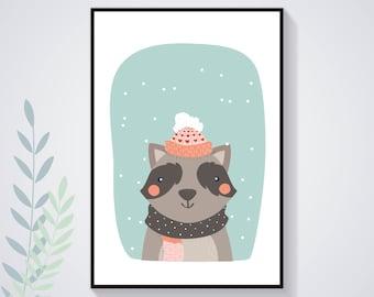 Affiche Poster Raton Laveur Hiver Pastel Nature Illustration Déco Chambre Enfant Bébé Affiche Enfant Affiche Bébé Animal Art Numérique