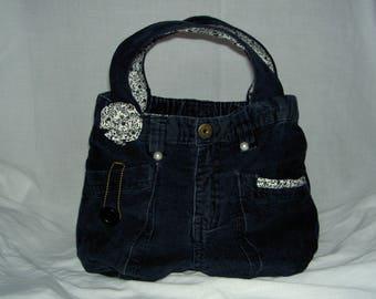 Hand made black velvet purse