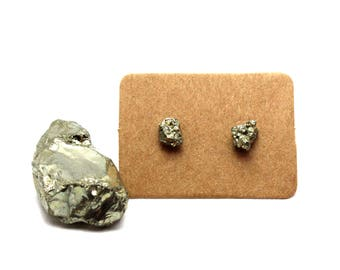 Raw Pyrite Earring Studs
