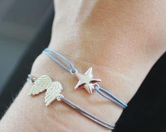 BLUE grey star 925 sterling silver bracelet