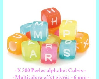Alphabet beads Cubes - multicolor frosted effect - 6 mm - approximately 300 pcs - new
