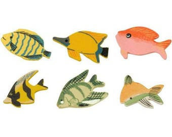 Nice set of 12 small fish 4 cm, all different, wood, new