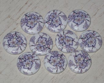 """Set of 10 wooden buttons round colorful """"Purple flowers"""""""