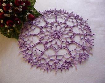 Ombre purple cotton handmade lace doily.