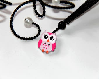 The 2 holes wooden OWL or OWL button