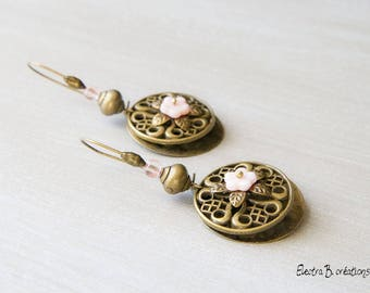 Rose quartz, glass, brass Baroque flowers earrings