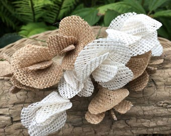Hessian flowers, Sweet Pea in natural and white. Wedding bouquets, table arrangements, coursage.