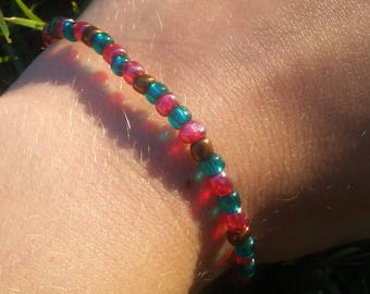 Deep Blue & Pink Glass Bead Bracelet with Copper Accents