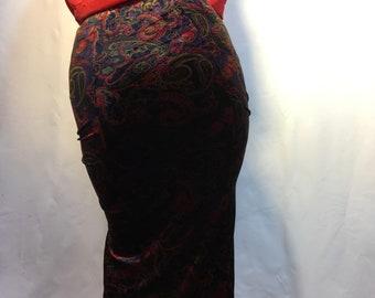 Printed Velvet Maxi Skirt