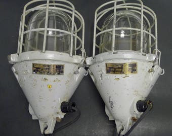 Set of 2 Vintage EOW East Germany Industrial Explosion-Proof Bunker / Factory Cage Lamp