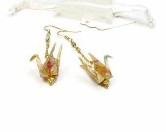 Earrings light gold plated origami birds