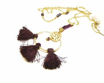 Minimalist necklace gold plated chain with Garnet stones and tassels Burgundy