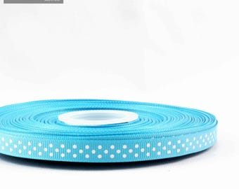 Striped 10 mm turquoise pattern grosgrain Ribbon sold by the meter