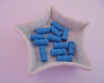 12 blue tube wood beads 16 mm x 6mm