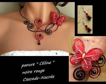 Butterfly Celine black red aluminum bridal Pearl wedding set