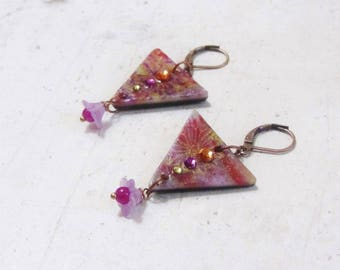 Triangle and original writing and flower pattern by Little Valentine earrings