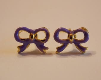 Pair of stud earrings modern enamelware purple gold bowtie