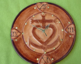 Clock leather molded and tooled glued on wood