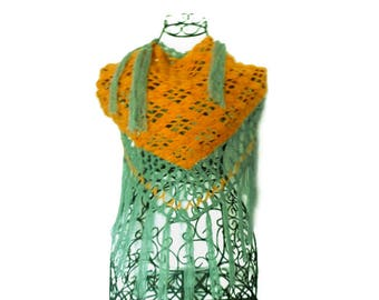 Scarf / crochet, crochet shawl, triangle crochet shawl mohair shawl boho, Bohemian, hippie shawl, orange, emerald green wool, fringe
