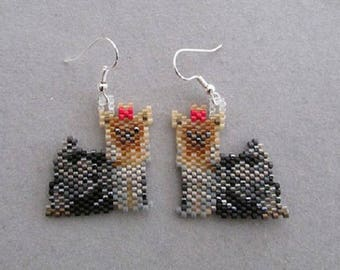 Yorkshire Terrier vintage woven payote t my creation is handmade earrings