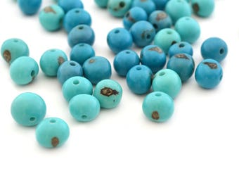 10 pearls turquoise and blue 6-10mm Acai seeds