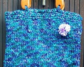 purse blue, plum and purple, handmade, original!