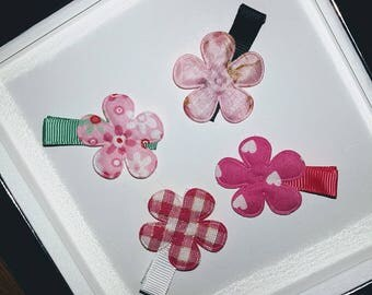 Set of 4 hair clips - little girl and baby