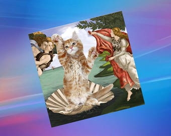 greeting card with cat: the birth of Venus from the famous painting by Botticelli