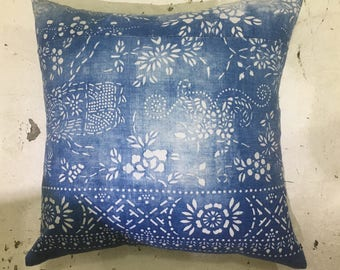 """Chinese Blue Indigo Batik Pillow Vintage   20.5"""" x 20.5"""""""